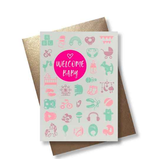 Pink Stories wenskaart Welcome Baby