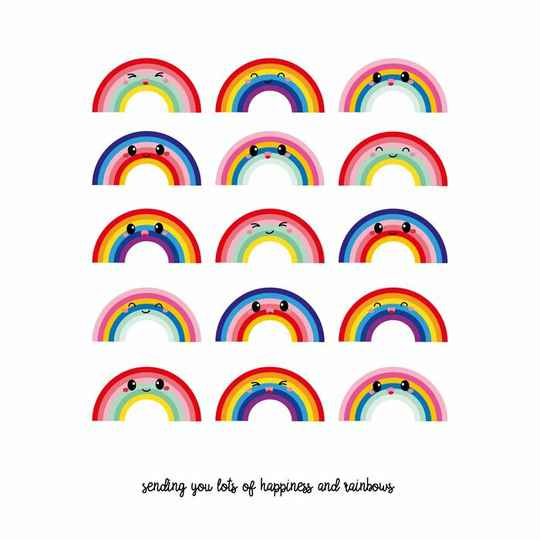 """Postkaart """"Sending you lots of happiness and rainbows"""""""
