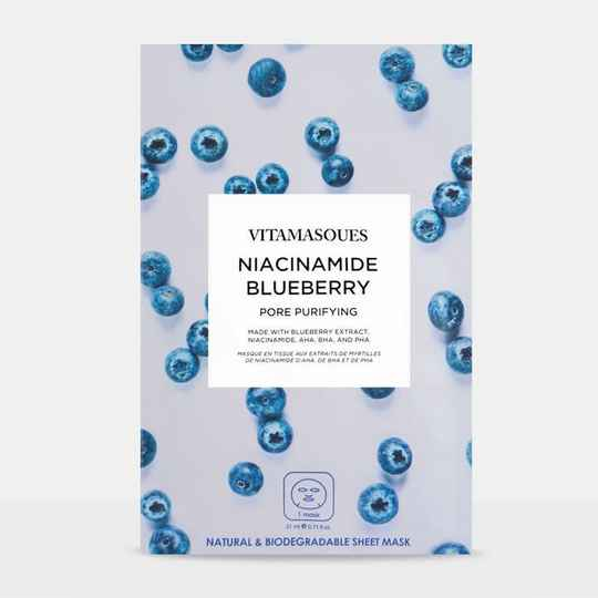 VITAMASQUES NIACINAMIDE BLUEBERRY FACE SHEET MASK