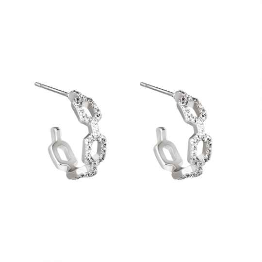 EARRINGS DIAMOND LINKED SILVER