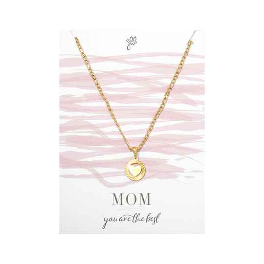 POSTCARD ''MOM YOU ARE THE BEST'' NECKLACE GOLD