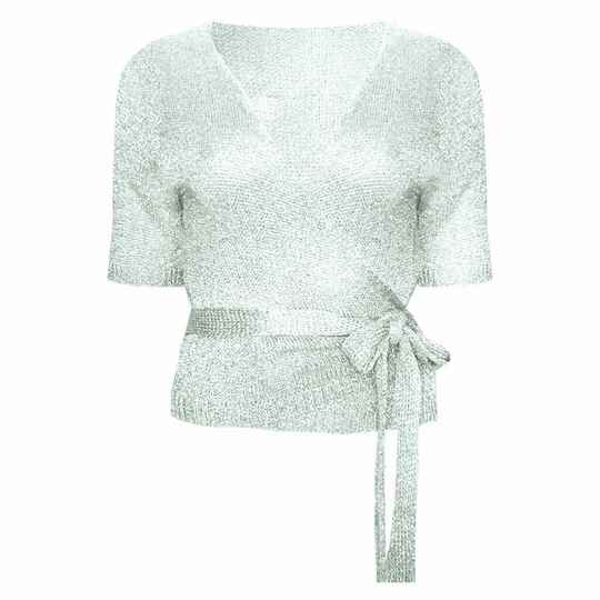 VICKY WRAP TOP SILVER