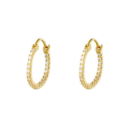 EARRINGS SHINY HOOPS GOLD