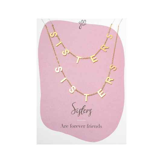 'SISTERS ARE FOREVER FRIENDS' POSTCARD NECKLACE GOLD