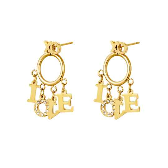 DANGLING LOVE EARRINGS GOLD