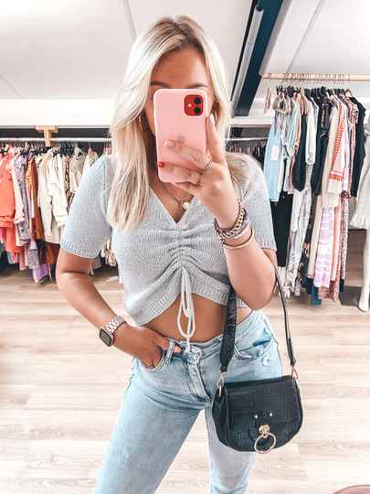 SOPHIE GLITTER TOP SILVER