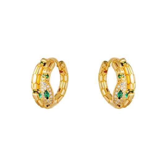 SNAKE EARRINGS GREEN / GOLD