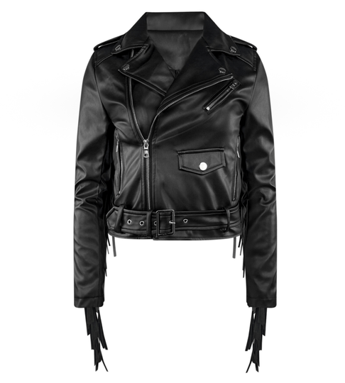 JILL LEATHERLOOK FRINGE JACKET