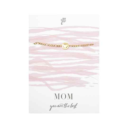 POSTCARD ''MOM YOU ARE THE BEST'' BRACELET GOLD