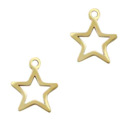 Stainless steel bedel star Gold 15x13mm