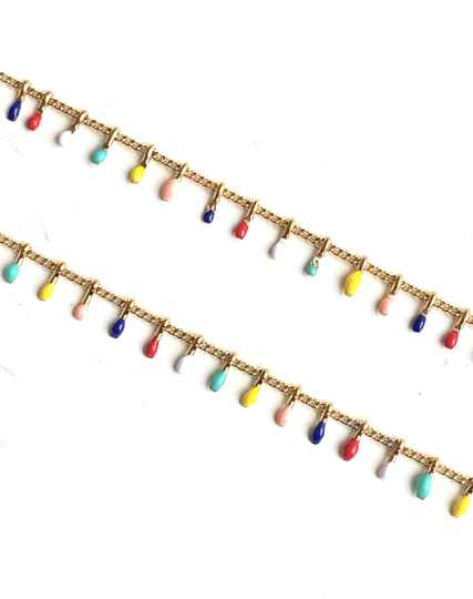 Stainless steel jasseron color beads yellow mix