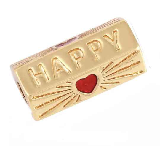 Message Beads Happy Red / Gold