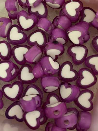 Letterkralen heart purple - white