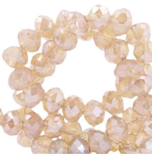 Facet kralen 6x4mm Apricot rose - Pearl shine coating