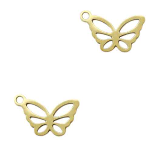 Stainless steel bedel Butterfly Gold