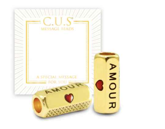 C.U.S. DQ Message Beads Amour & Heart goud