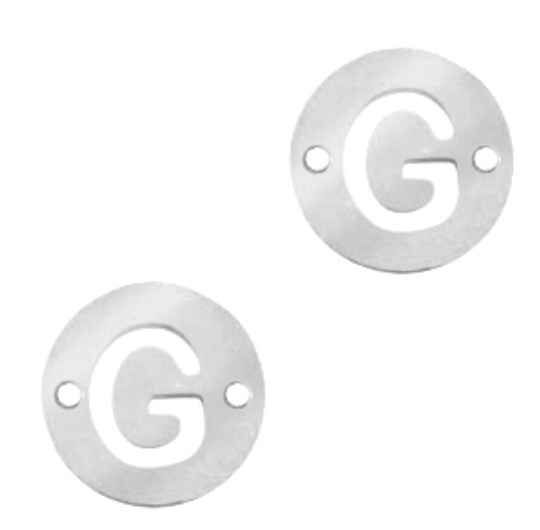 Stainless steel initial coin 10mm G zilver