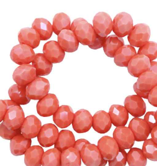 Facet kralen disc 6x4mm Coral red - pearl shine coating