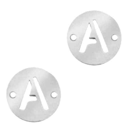 Stainless steel initial coin 10mm A Zilver