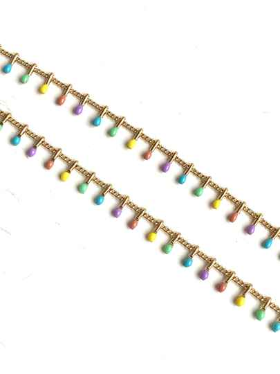 Stainless steel jasseron beads color pink pastel