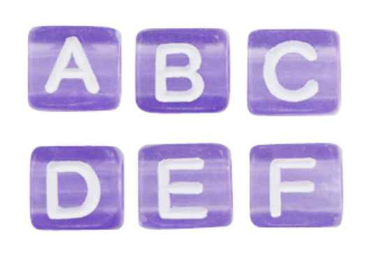 Acryl letterkralen mix purple-white