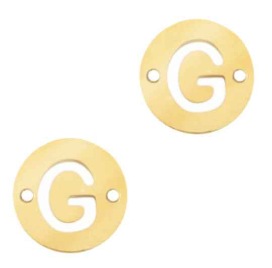 Stainless steel initial coin 10mm G goud