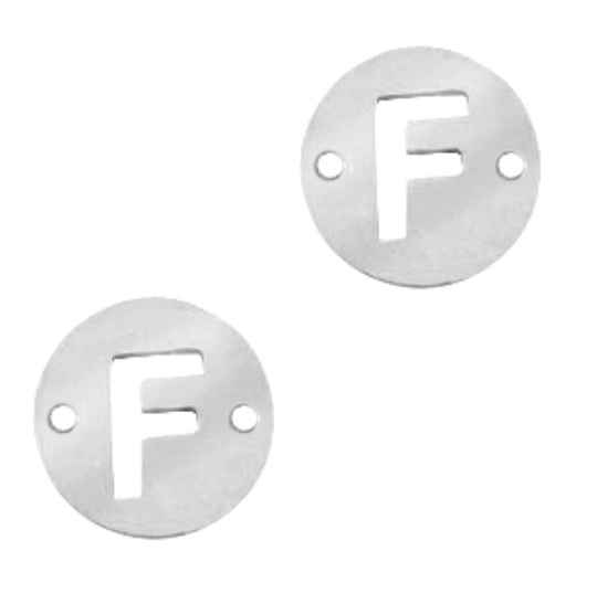 Stainless steel initial coin 10mm F zilver
