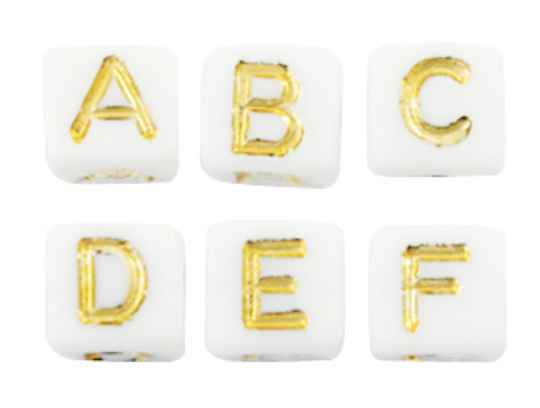 Acryl letterkralen mix white-gold
