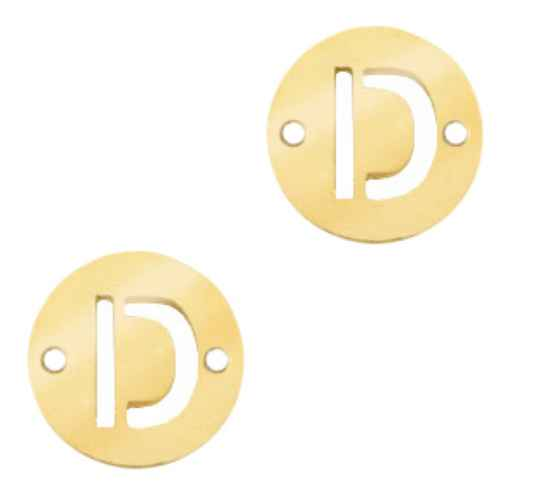 Stainless steel initial coin 10mm D goud