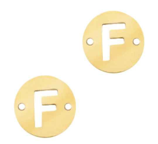Stainless steel initial coin 10mm F goud