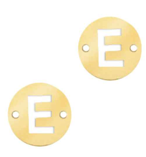 Stainless steel initial coin 10mm E goud