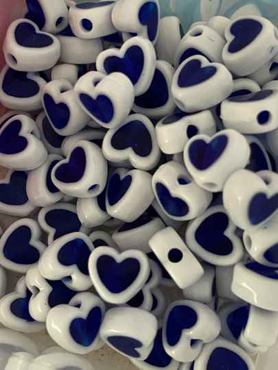 Letterkralen heart white - blue