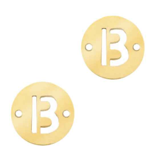 Stainless steel initial coin 10mm B goud