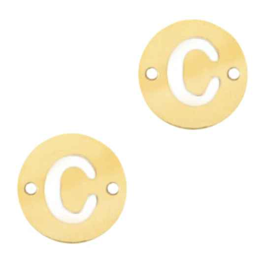 Stainless steel initial coin 10mm C goud
