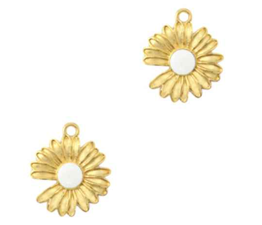 DQ metaal bedel Daisy Gold - white