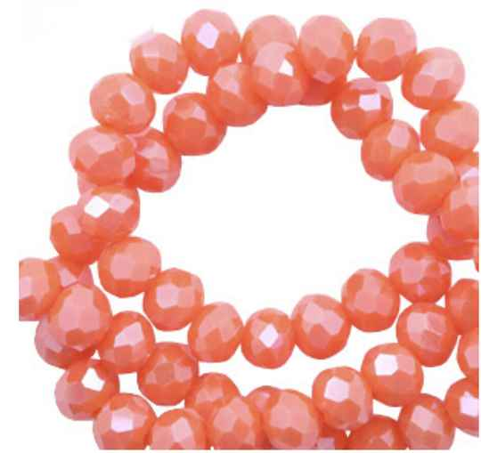 Facet kralen top quality disc 4x3 mm Tigerlily coral red-pearl shine coating