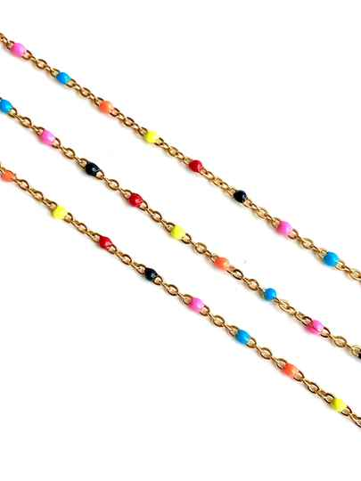 Stainless steel color dots multicolor - Gold