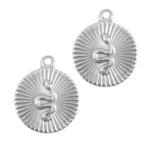 Stainless steel bedel coin snake rvs zilver 17x14mm