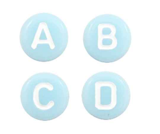 Letter kralen Light aqua blue / White  mix 100 stuks