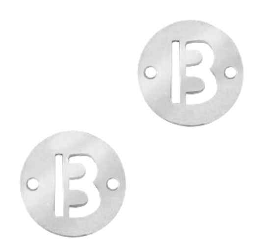 Stainless steel initial coin 10mm B zilver