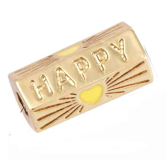 Message beads Happy yellow / Gold