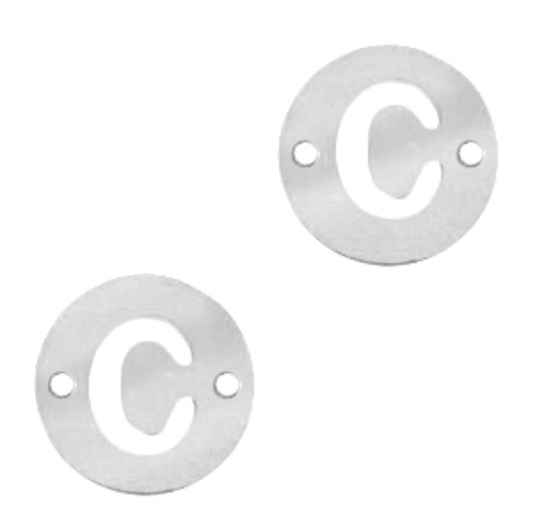 Stainless steel initial coin 10mm C zilver