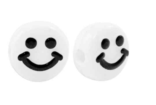 Acryl letterkralen smiley black - white