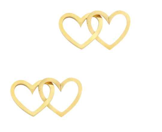 Stainless steel tussenstuk Double Hearts Goud
