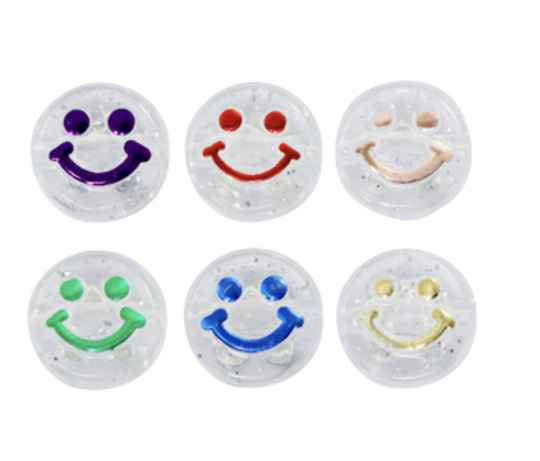 Acryl letterkralen smiley transparant multicolour
