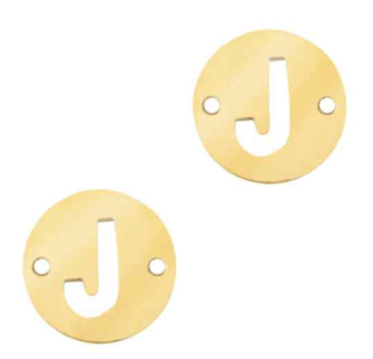 Stainless steel initial coin 10mm J goud