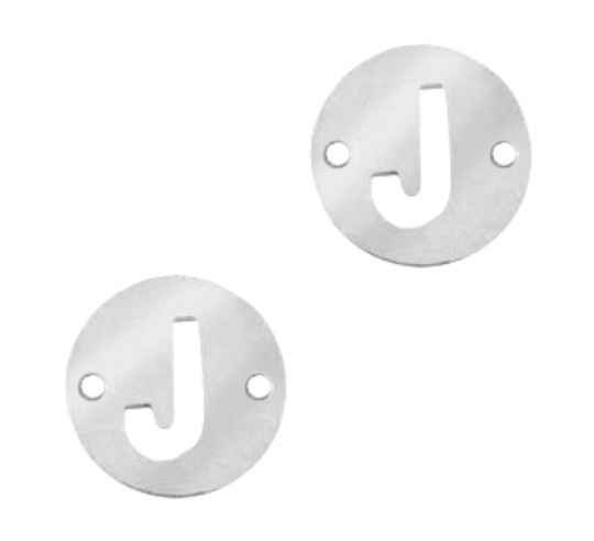 Stainless steel initial coin 10mm J zilver