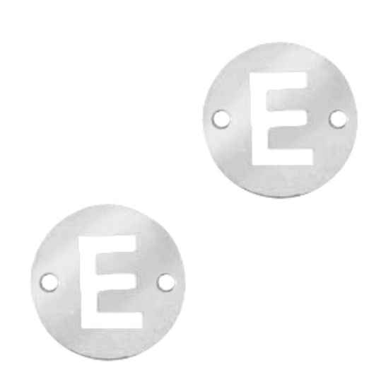 Stainless steel initial coin 10mm E zilver