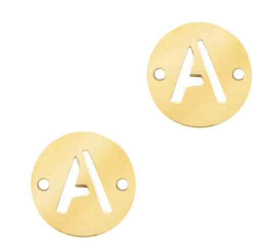 Stainless steel initial coin 10mm A goud