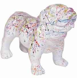 DHC59 Hond Engelse bulldog wit multicolor spin extra glad polyester résine 45 x 58 cm